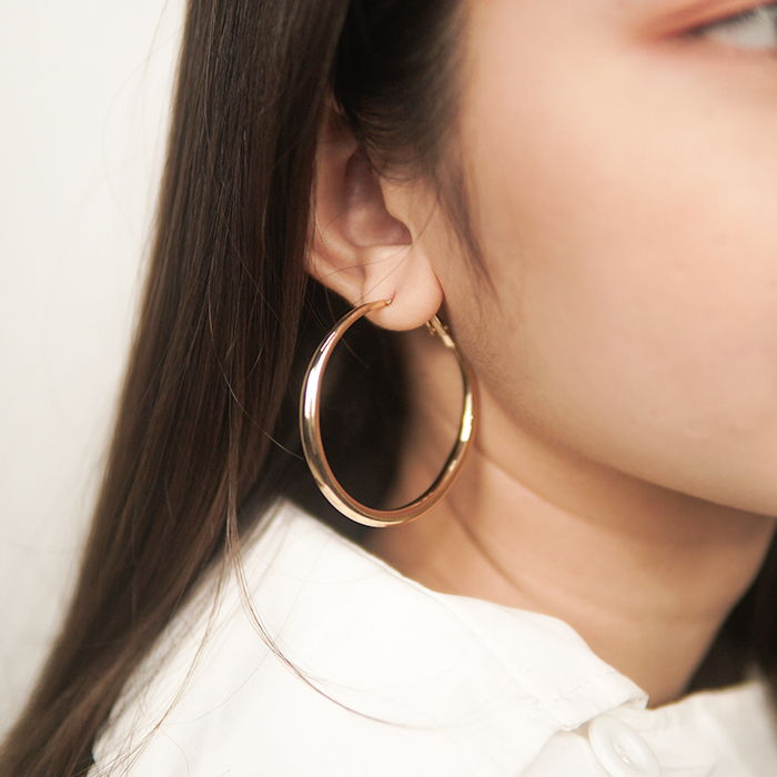 Anting Europe and the United States big new round metal ear ring ZA simple geometric earrings AG6048