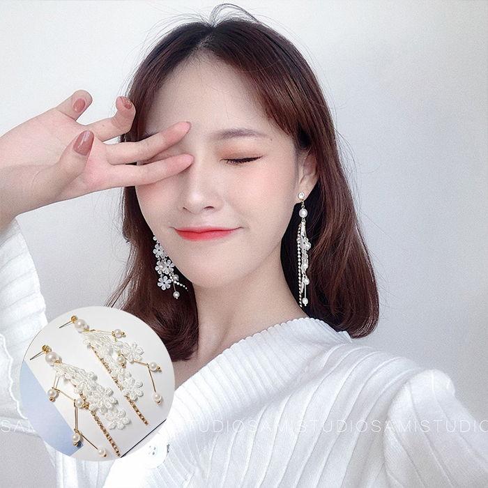 Anting Korea lace pearl female earrings set diamond student sexy earrings  JUL583