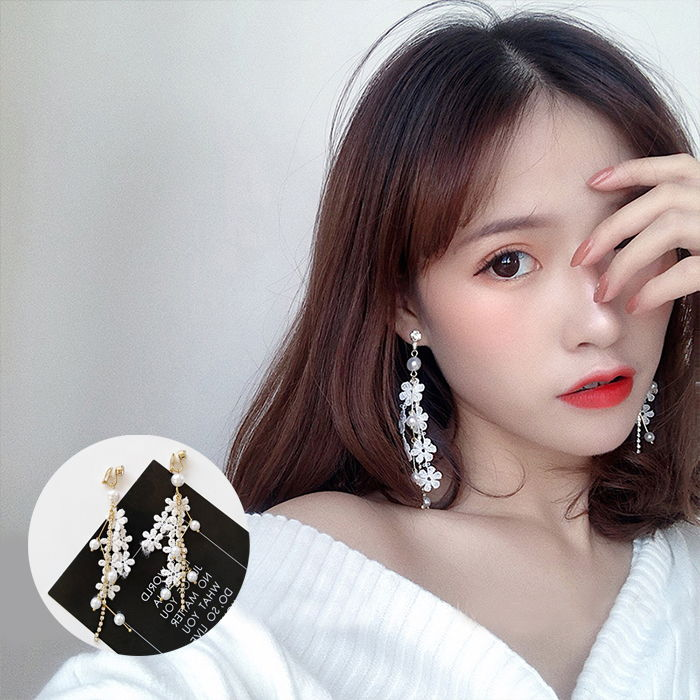 Anting Korea lace pearl female earrings set diamond student sexy earrings ear clip  JUL584
