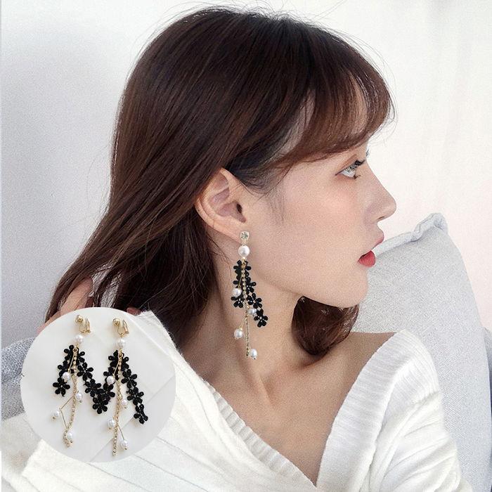 Anting Korea lace pearl female earrings set diamond student sexy earrings ear clip  JUL585