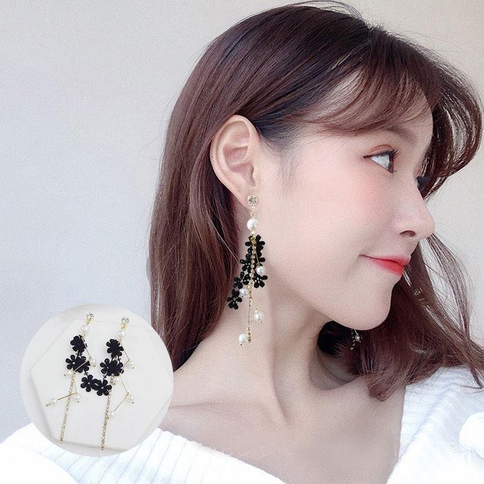lace pearl female earrings set diamond student earrings  JUL586
