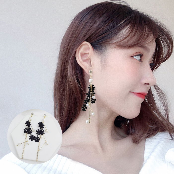 Anting Korea lace pearl female earrings set diamond student earrings  JUL586