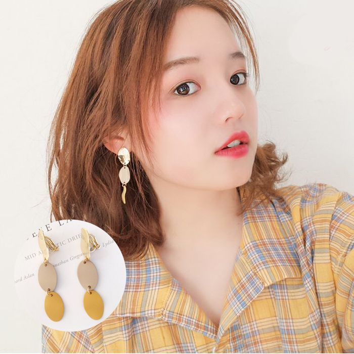 Anting simple geometric oval long earrings Japanese and Korean fashion color without ear pierced ear clip JUL590