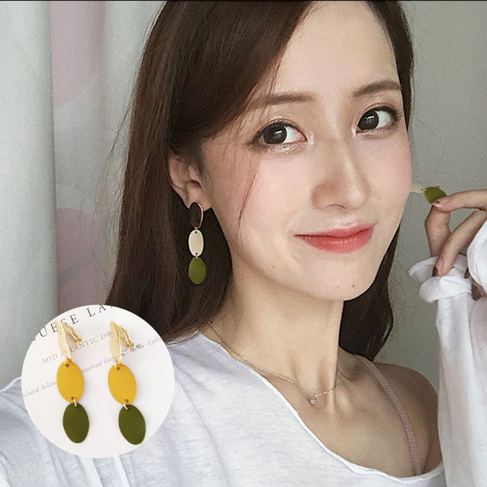 Anting simple geometric oval long earrings Japanese and Korean fashion color without ear pierced ear clip JUL591