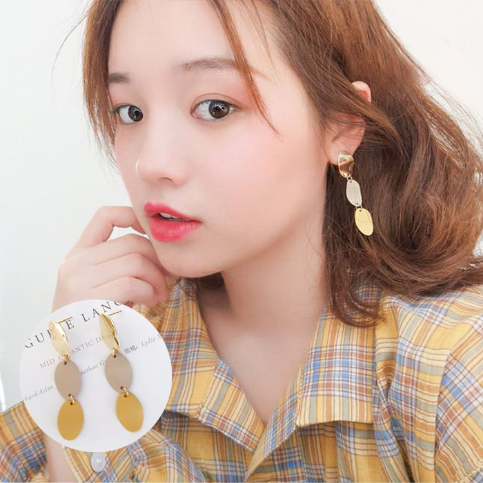 Anting simple geometric oval long earrings Japanese and Korean fashion color without ear pierced earrings JUL592