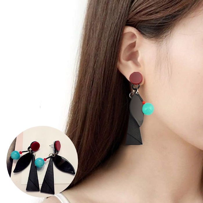 Anting Bohemian wooden beads simple retro crystal  JUL651