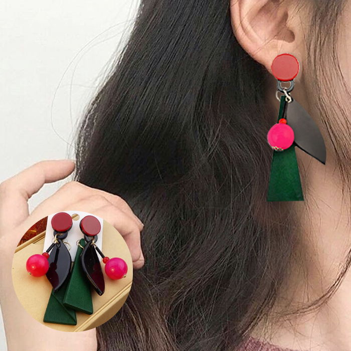 Anting Bohemian wooden beads simple retro crystal  JUL652