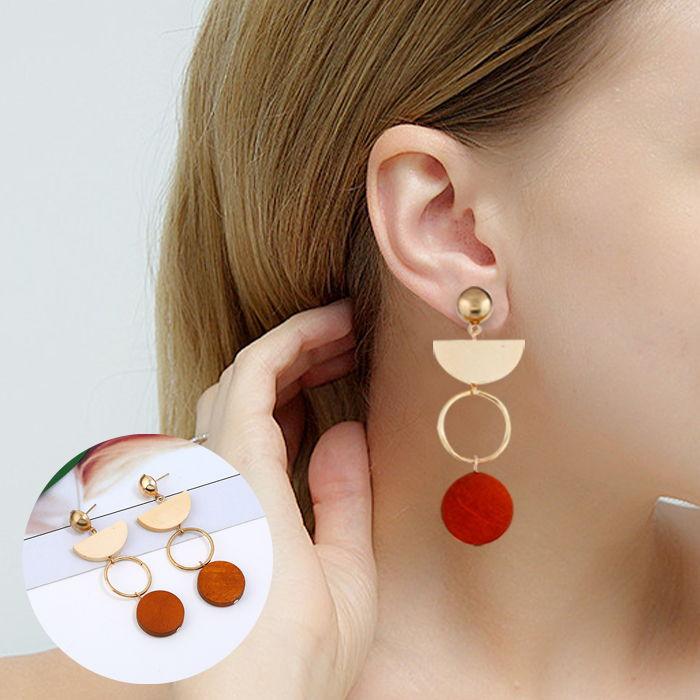 retro wood earrings  JUL659