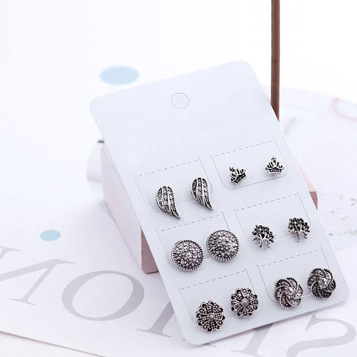 Aksesoris 6 pairs of set earrings retro flower JUL666
