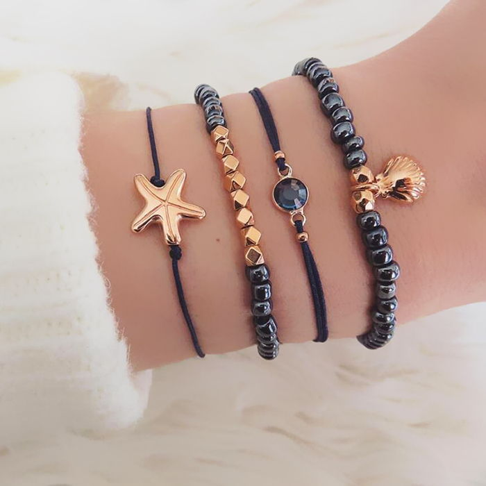 Gelang Korea starfish shell treasure blue beaded bracelet four-piece black jewel gold beaded bracelet  JUL683
