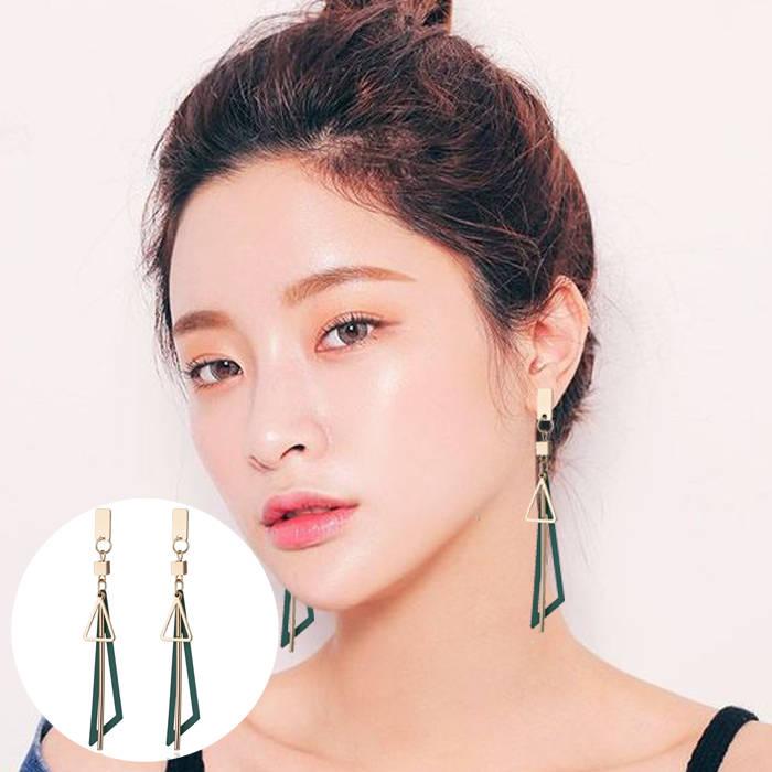 Aksesoris Korea simple long geometric triangle tassel earrings earrings metal strips earrings  JUL686