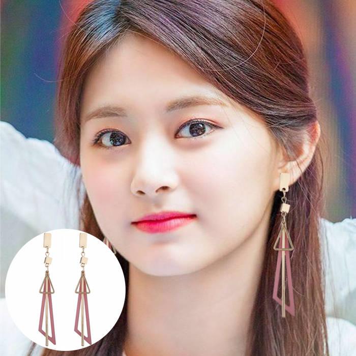 Aksesoris Korea simple long geometric triangle tassel earrings earrings metal strips earrings  JUL687