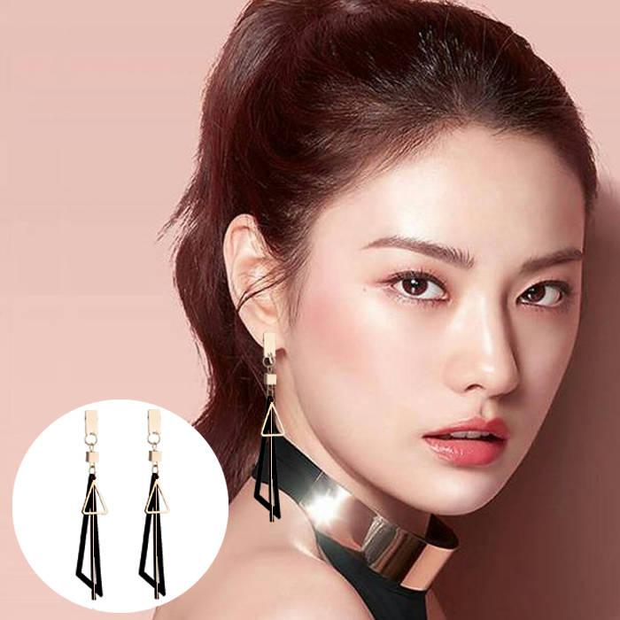Aksesoris Korea simple long geometric triangle tassel earrings earrings metal strips earrings  JUL688