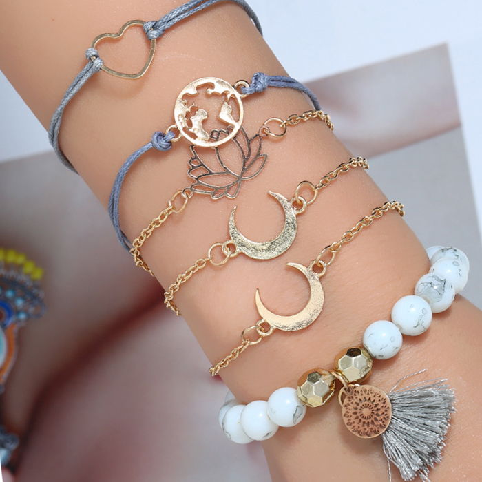 Gelang Korea crescent lotus world map bracelet cross-border hot selling tassel beaded bracelet set JUL693
