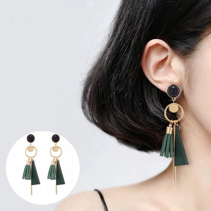 Bohemian female earrings long leather tassel earrings alloy geometric set round JUL695