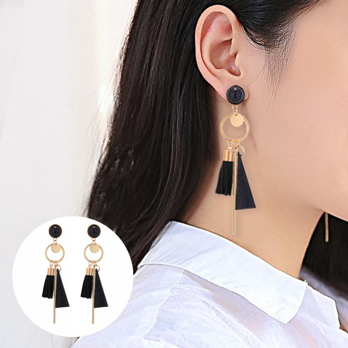 Bohemian female earrings long leather tassel earrings alloy geometric set round JUL696