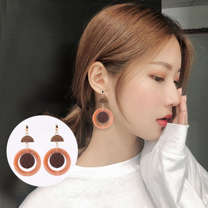 Anting European and American style round wood with round resin  JUL702
