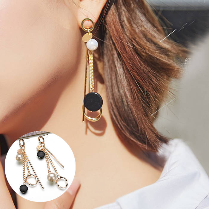 Anting Korea fashion long chain round ear jewelry JUL713