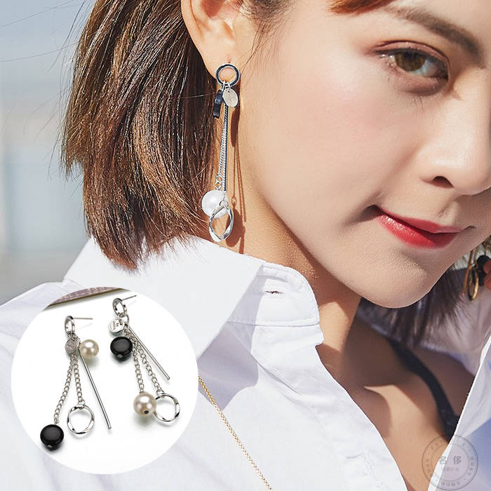 Anting Korea fashion long chain round ear jewelry JUL714