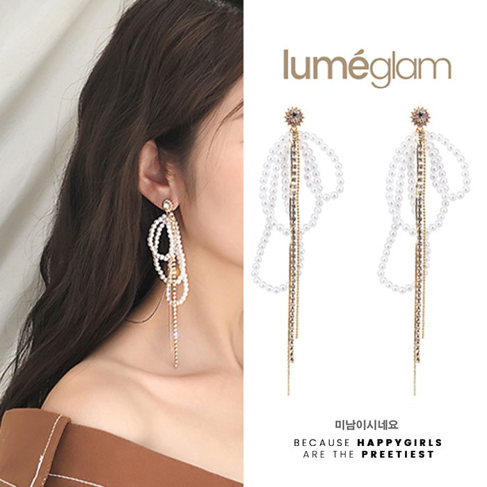 Anting silver needle zircon pearl tassel earrings Europe and the United States exaggerated long fashion OCT018