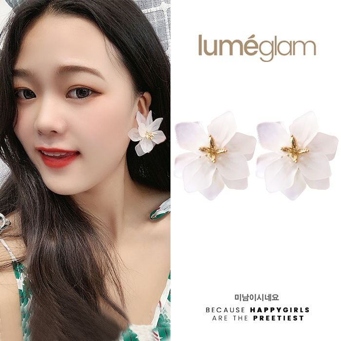 Anting Silver needle retro exaggerated flower earrings female fashion  OCT024