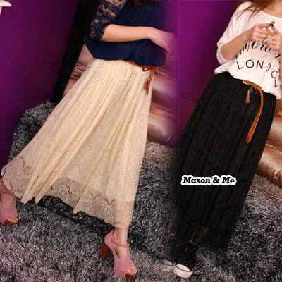 Bohemian style stylish woman fashion lace chiffon with belt long skirt,Dress Pendek