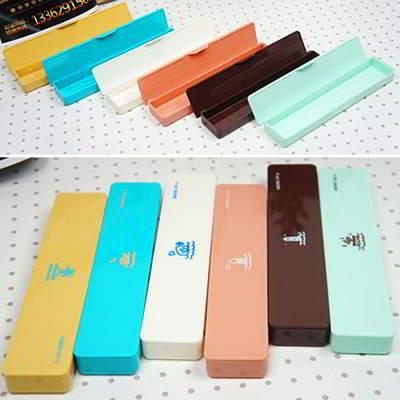Korean Stationery Korean creativity fashion ocean stamp pattern small pencil box (1pcs price) (Color Will Be Random) SD588F