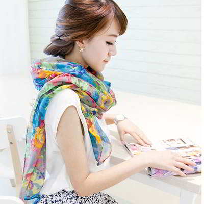 Syal & Scarf Contempora Gray Countryside Floret Pattern Voile Fashion Scarves RFE656