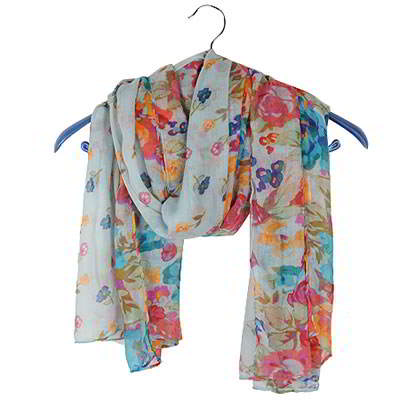 Syal & Scarf Splendid Sky Blue Countryside Floret Pattern Voile Fashion Scarves RFE65B