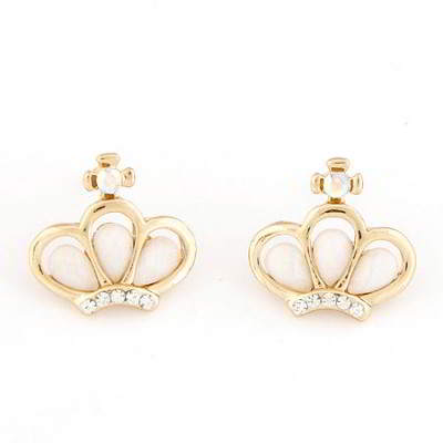 Anting Tusuk CZ diamond decorated crown shape design T65DB8
