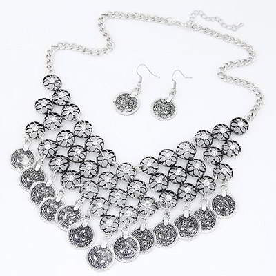 Set Kalung & Anting flower decorated hollow out design T6B5B5