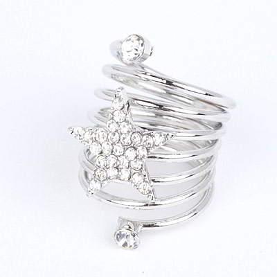 Cincin Korea Best Seller Ring diamond decorated star shape design R8B587