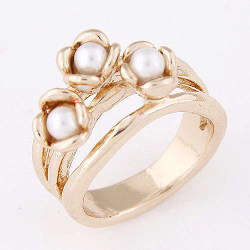 Cincin Korea pearl&flower decorated simple design WP T57FBA