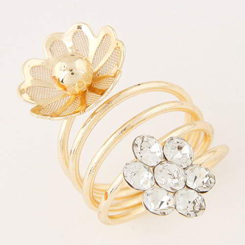Cincin Korea hollow flower decorated multilayer design T56757