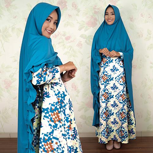 Dress Gamis kancing belakang + Bergo Khimar Kupnat jumbo 2401WB