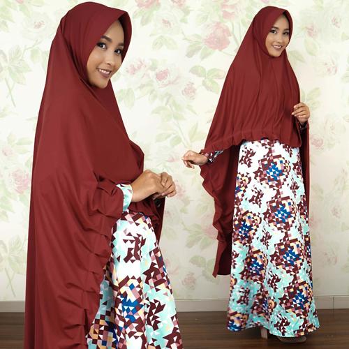 Dress Gamis kancing belakang + Bergo Khimar Kupnat jumbo 2401WR