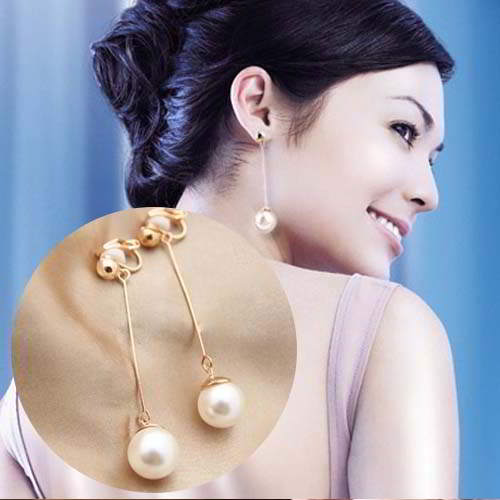 Anting Long Pearl Earrings No Needle ANT102