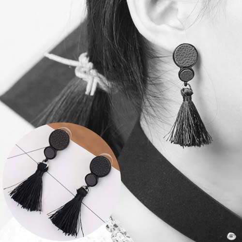 Leather Round Long Tassel Earrings APR007