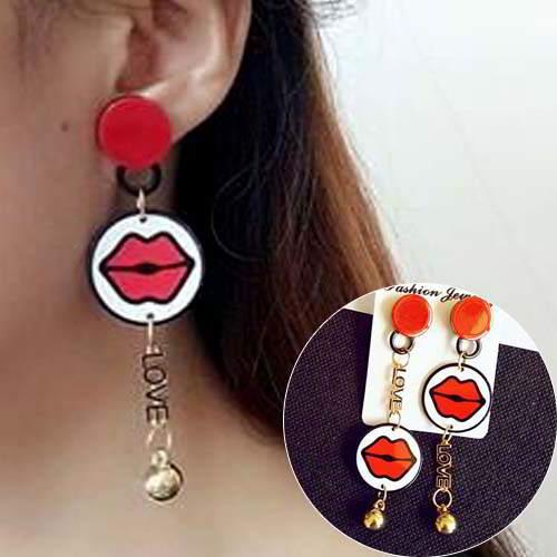 simple star lips asymmetric earrings jewelry APR021