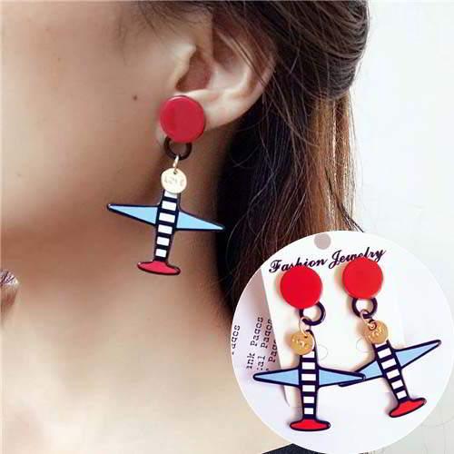 simple star lips asymmetric earrings jewelry APR023