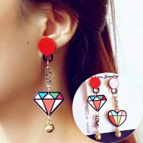 simple star lips asymmetric earrings jewelry APR026
