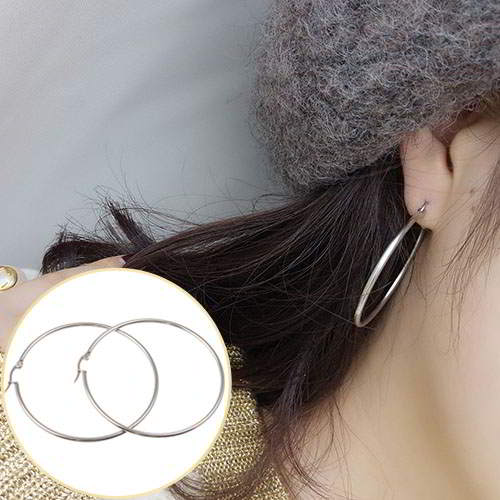 Anting Earrings Simple Ear Ornaments Round Circle Stainless Steel APR061