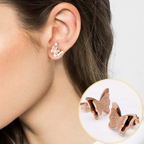 Anting frosted butterfly rose gold earrings APR124