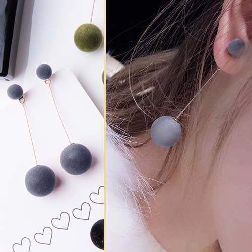 simple long ball size plush ball earrings APR222