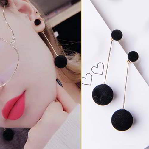 simple long ball size plush ball earrings APR225