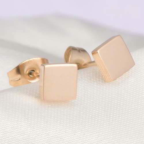 Anting minimalist Square simple earrings Titanium steel gold plated 18k BR1I47