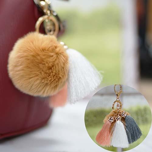 Gantungan Kunci PomPom Fur Ball 3 Tassel Key Chain BRT101