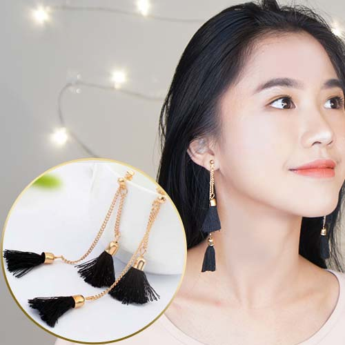 Double Tassel Chain earrings JUN034