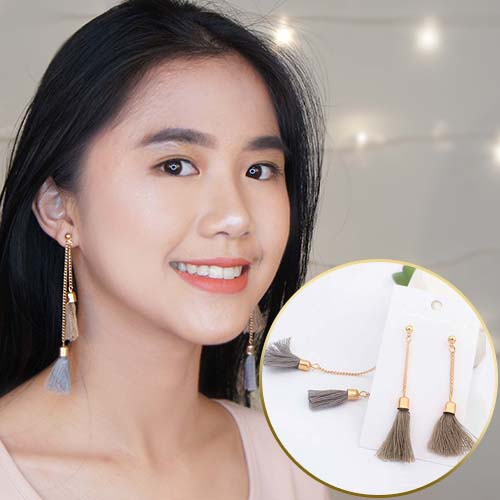 Double Tassel Chain earrings JUN035
