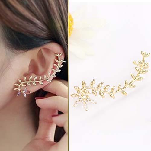 rhinestone leaves curved earrings JUN060